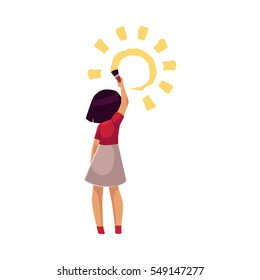 Full length portrait of little girl standing and drawing sun on the wall, cartoon vector illustration on white background. Rear view of little girl painting, drawing sun with a big brush