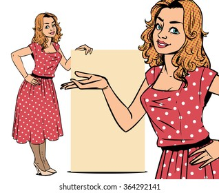 Full length portrait of smiling young woman in dress showing empty space on her palm. Hand drawn illustration in american comic style isolated over white background