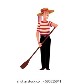Full length portrait of young Italian, Venetian gondolier in typical clothes, cartoon vector illustration isolated on white background.