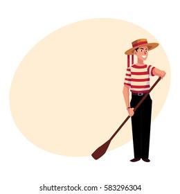 Full length portrait of young Italian, Venetian gondolier in typical clothes, cartoon vector illustration with place for text. Italian gondolier in traditional clothing, tourist attraction
