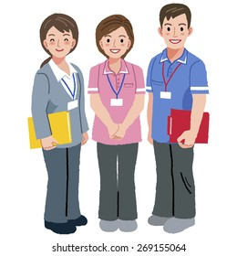 Full length portraits of geriatric care manager and two social workers in white background.