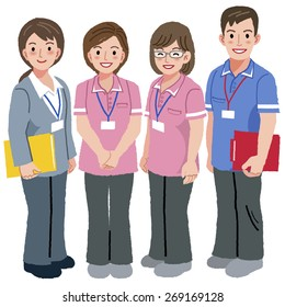 Full length portraits of geriatric care manager and three social workers  in white background.