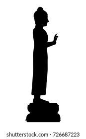 Full length of silhouette buddha against white background. Vector image