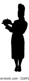 Full length of silhouette chef holding tray against white background. Vector image