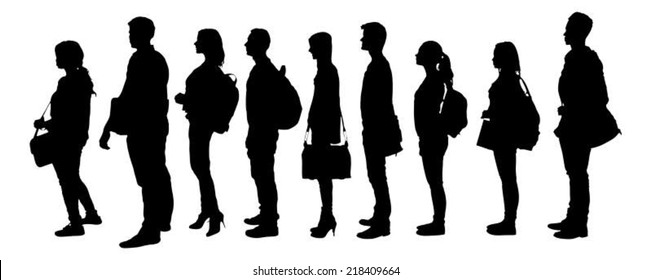 Full length of silhouette college students standing in line against white background. Vector image
