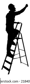 Full length of silhouette construction worker climbing on ladder against white background. Vector image
