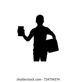 Full length of silhouette delivery man with packages against white background. Vector image