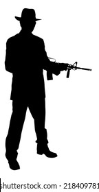 Full length of silhouette gangster holding rifle while standing over white background. Vector image.