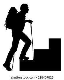 Full length of silhouette hiker with hiking poles and backpack climbing steps over white background. Vector image