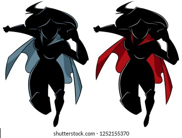 Full length silhouette illustration of powerful and muscular superheroine running fast and isolated on white background for copy space.