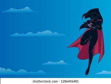 Full length silhouette illustration of superheroine mom flying in the sky and holding her cute newborn baby in her arms.