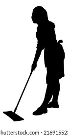 Full length of silhouette maid sweeping floor with mop over white background. Vector image