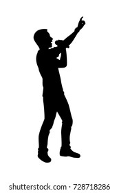 Full length of silhouette man singing with microphone against white background. Vector image