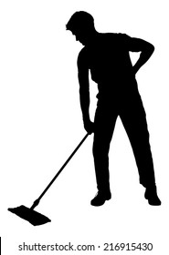 Full length of silhouette man sweeping floor with mop over white background. Vector image
