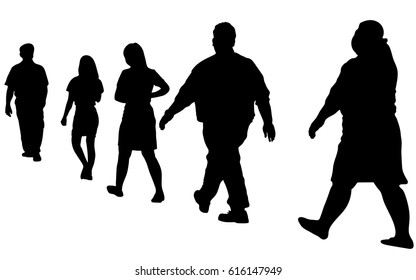 Full length of silhouette people walking in line against white background. Vector image