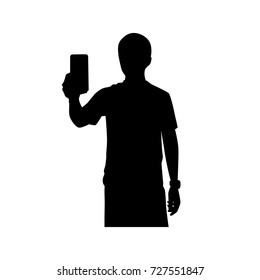 Full length of silhouette young man taking photo with smartphone against white background. Vector image