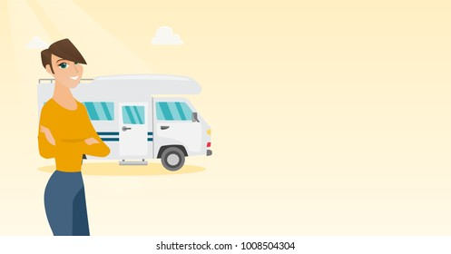 Full length of young caucasian white woman standing with arms crossed on the background of motorhome. Smiling woman enjoying her vacation in a motorhome. Vector cartoon illustration. Horizontal layout