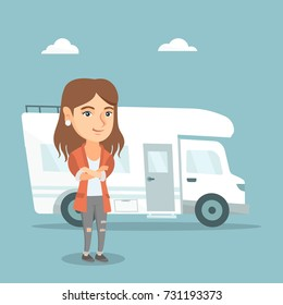 Full length of young caucasian woman standing with arms crossed on the background of motorhome. Smiling woman enjoying her vacation in a motorhome. Vector cartoon illustration. Square layout.