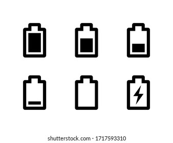 Full and low battery icon set. Simple black charge indicator sign collection, accumulator logo isolated on white background. Vector illustration for web, mobile app, ui design