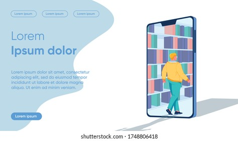 Full Man goes into Smartphone Library, Systematization. Independently Track Process Understanding Material. Classification Information Received into Categories Knowledge. Vector Illustration.