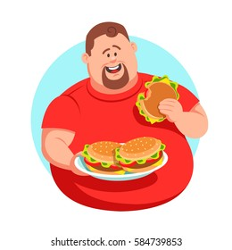 Full man in a red shirt eating a lot of hamburgers. vector graphics