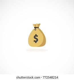 Full moneybag icon. Money sign bag illustration