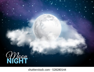 Full Moon Against the background of the Milky Way. Mystical Sky Moonlight night. Clouds and stars. Realistic clouds. Shining Stars on dark blue sky. Vector illustration background.