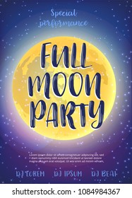 Full Moon Beach Party Flyer. Vector Design EPS 10