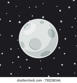 full moon cartoon on star background vector illustration