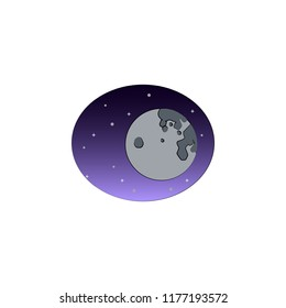 full moon colored illustration. Element of Halloween for mobile concept and web apps. Colored full moon illustration can be used for web and mobile