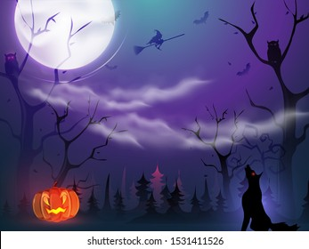 Full moon forest view background with spooky jack-o-lantern, witch flying broom, owls, bats and yelling wolf for Halloween Night.