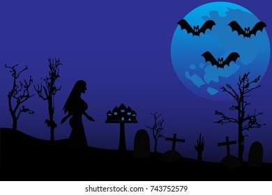 The Full Moon Of Happy Halloween Day Vector Background.
