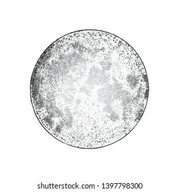 Full moon isolated. Antique vintage hand drawn line art and dot stipple work. Tattoo flesh design. Grouped by colour shade. Vector