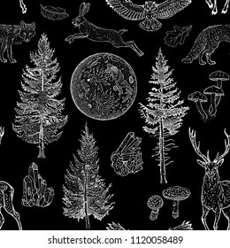 Full moon magic seamless pattern. Spruce, fir tree, mushrooms, fox, hare, deer, leaves, crystals. Hand drawn vintage tattoo engraving style vector illustration white on black. Nature, fantasy, boho.