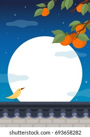 Full moon night background. Persimmon tree with bird on traditional Korean style stone wall fence.Mid Autumn Festival.