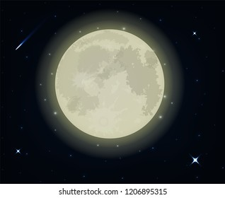 Full moon night and beautiful star. illustration Vector EPS10.