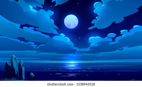 Full moon night ocean or sea landscape. Starry sky with clouds and moonlight reflection in dark water surface, romantic fantasy natural scene background, midnight time. Cartoon vector illustration