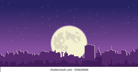 Full moon  in night sky over city silhouette vector cityscape illustration