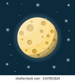 Full moon in night sky with stars. Moon satellite of earth with craters. Astronomy, science, nature. Space exploration. Vector illustration in flat style