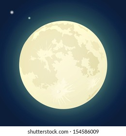 Full Moon on a Dark Blue Sky. Vector Illustration