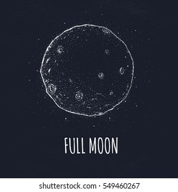 Full moon in outer space with lunar craters. Logo hand drawn vector illustration on black background.
