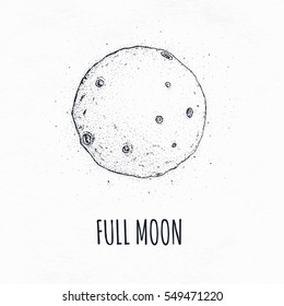 Full moon in outer space with lunar craters. Logo hand drawn vector illustration on white background.