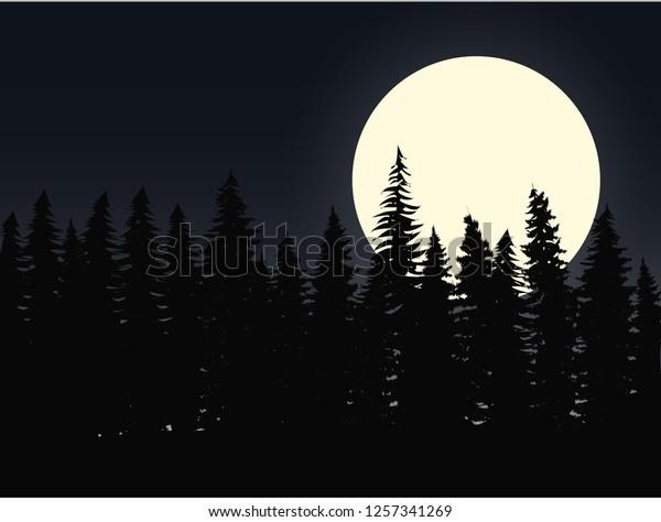 Vector De Stock Libre De Regalías Sobre Full Moon Over