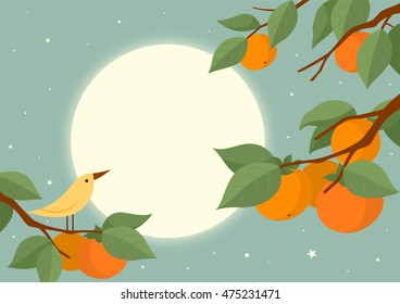 Full moon and persimmon tree with bird. Mid Autumn Festival(Chuseok) Background.