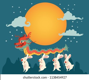 the full moon surrounded with the rabbits doing dragon dance in the mid autumn festival, illustration, vector