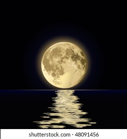 full moon under water