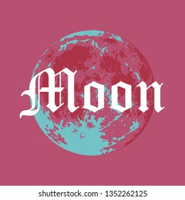 Full Moon, Vector illustration of Moon in Creative Modern style with Gothic font caption.
