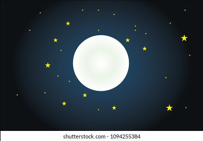 full moon vector. night and moon. night and stars. night sky and moon.