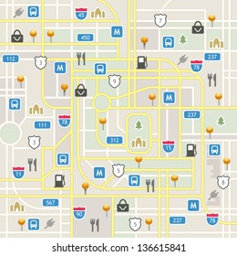 Full navigation set of vector elements in different colors. Map icon legend symbol sign toolkit element.