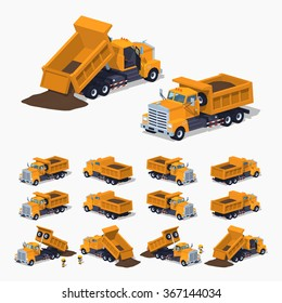 Full orange dumper. 3D lowpoly isometric vector illustration. The set of objects isolated against the white background and shown from different sides